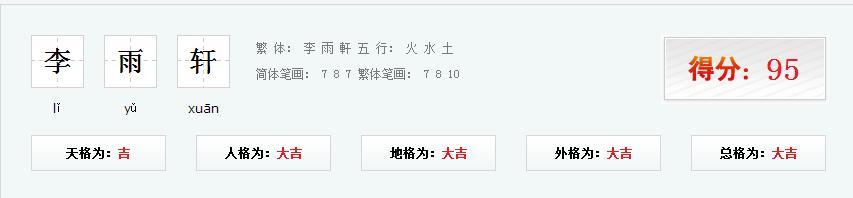 测测你名字的分数_李雨轩姓名测试成绩