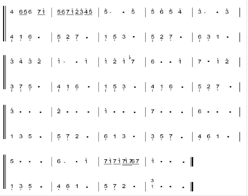 卡农钢琴谱,数字版左右手