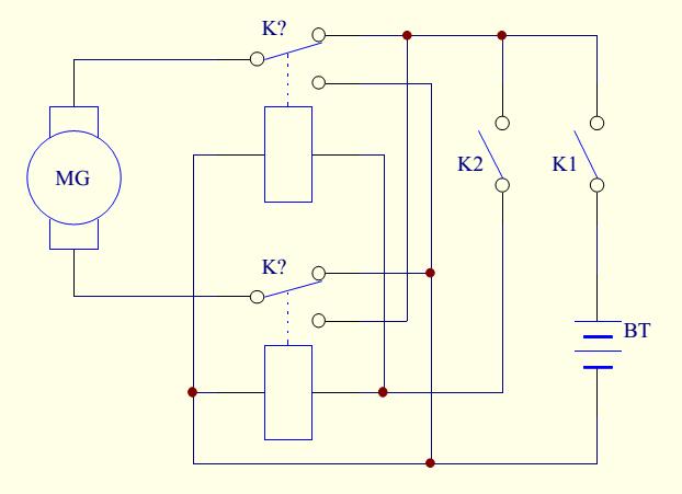 用两个单刀双掷的继电器,控制一个直流电机的正反转的