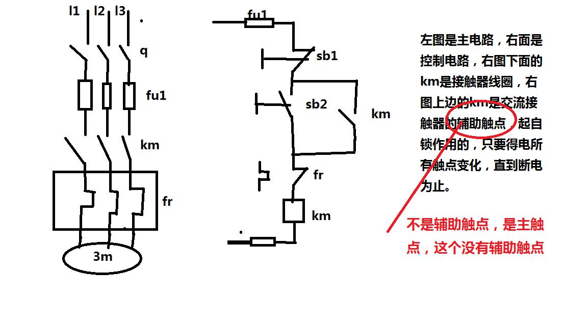 380v接触器线圈(a1)为什么要接到热继电器上?热继电器