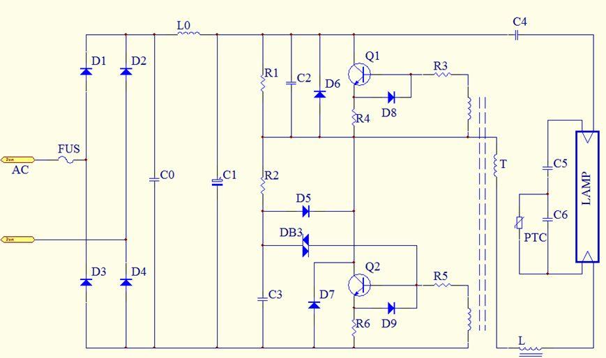 帮个忙提供节能灯管电子整流器 详细电路图和详细工作原理?功率是20w