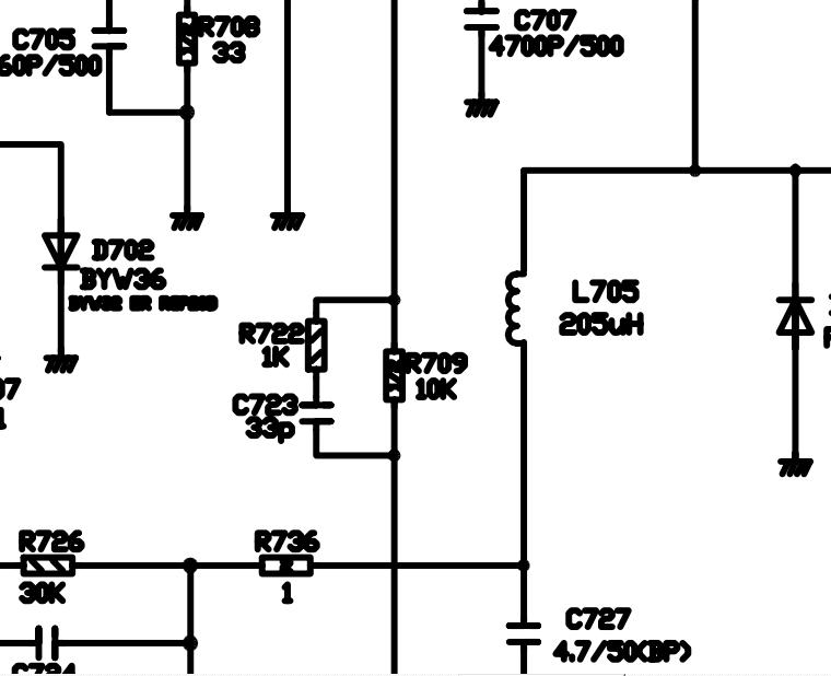 创维6d85机芯行输出电路图中r709的阻值是多少