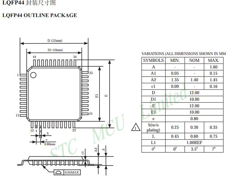 插脚的比较大了,见下图是dip40封装的尺寸 stc系列单片机类种繁多