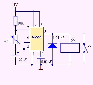 求ne555控制5v继电器在4到6秒循环闭合电路图,最好是可调时间