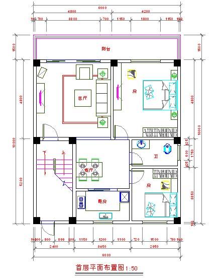 求8米宽11长的两房一厅一厨一卫一层平面图,二层三房一厅一卫设计图.