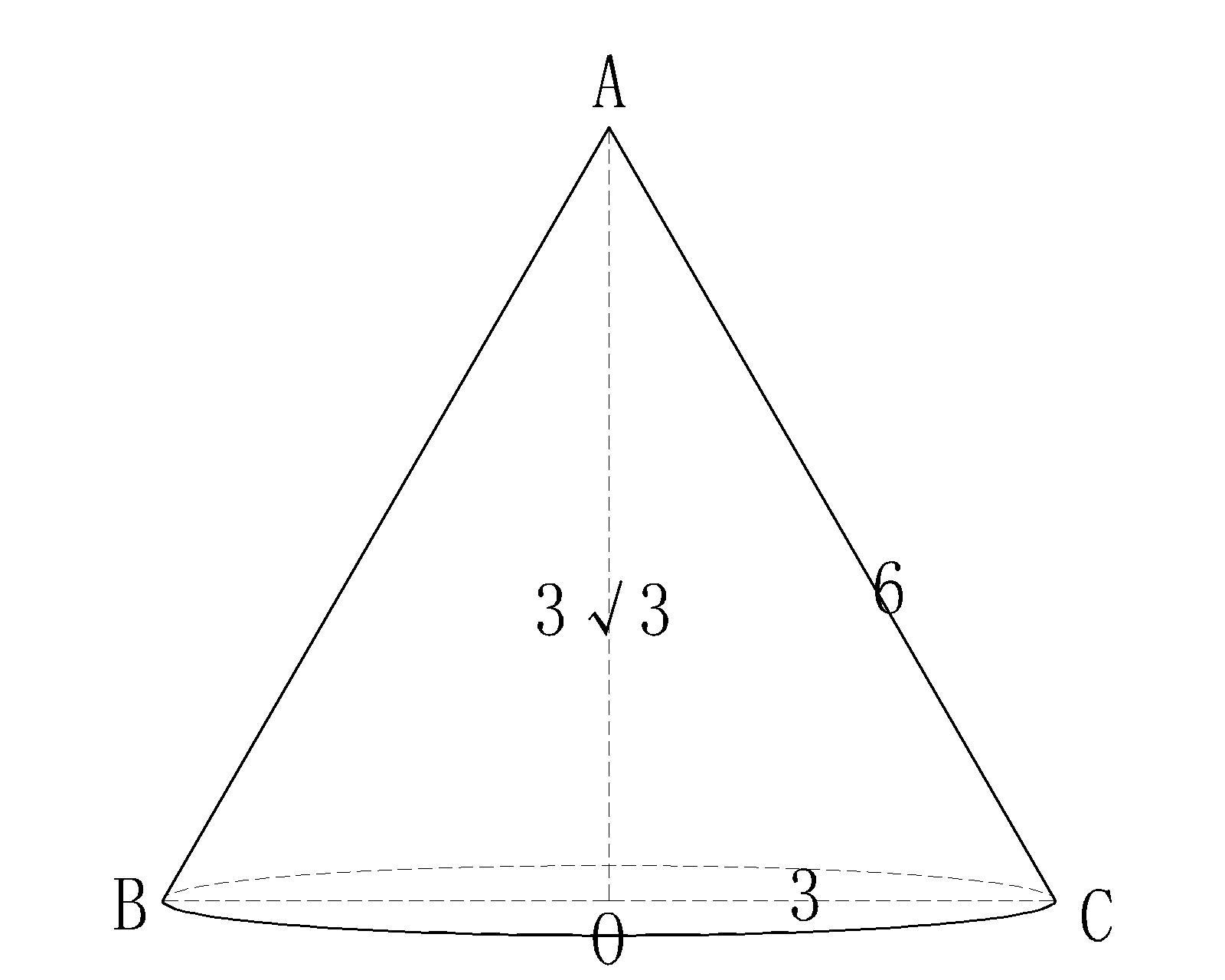 一个圆锥的高为3√3(3根号3),侧面展开图是半圆,求圆锥的全面积.