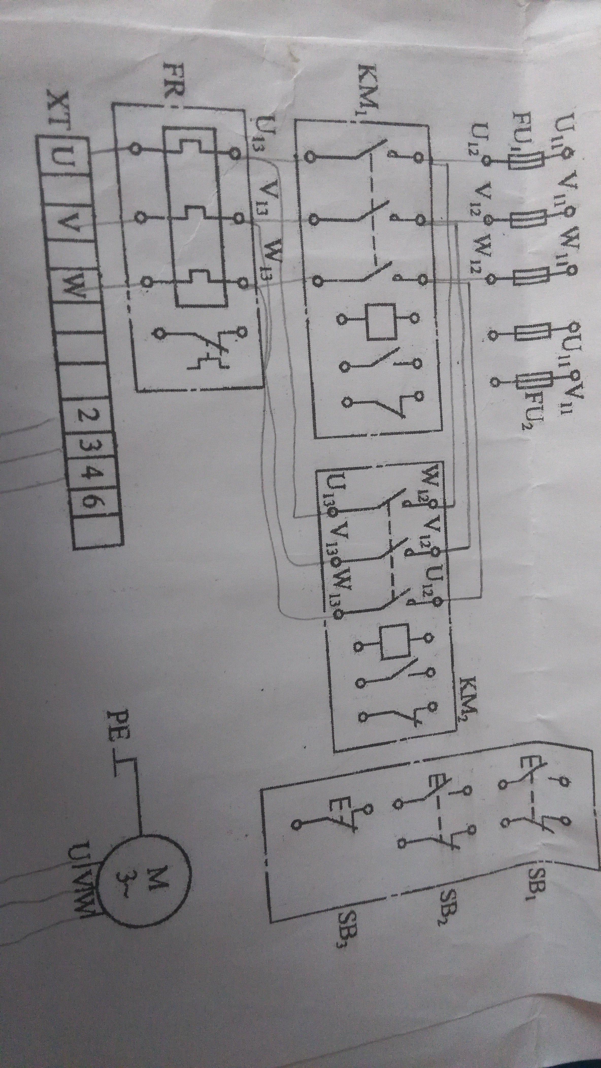 三项异步电动机正反转电路接线图接法
