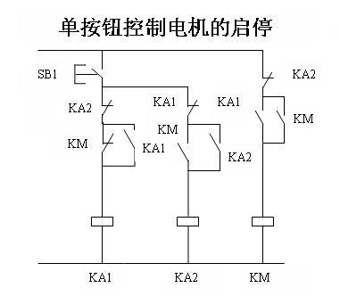 一个普通按钮 三个中间继电器 控制一灯启停 电路图
