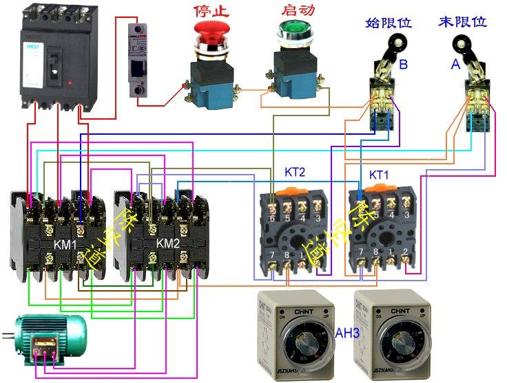 2个行程开关加2个时间继电器 控制三相电机正反转