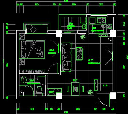 住宅室内设计手绘图一室一厅75平方米