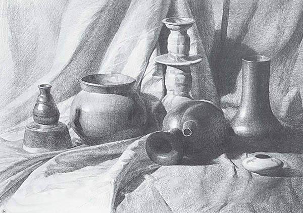 素描静物 ,水壶,坛子的把 怎么画?