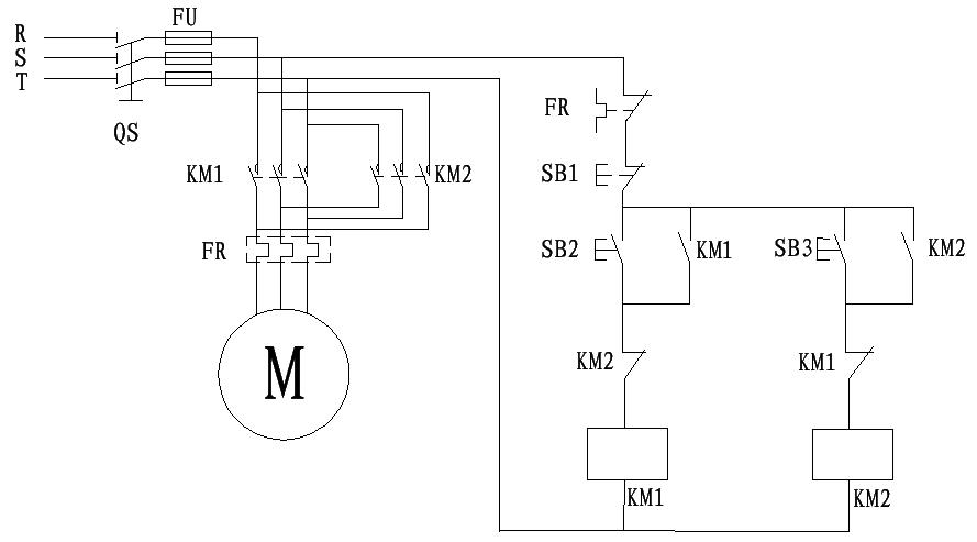通过接触器控制电机正停反转接触器有两路短路