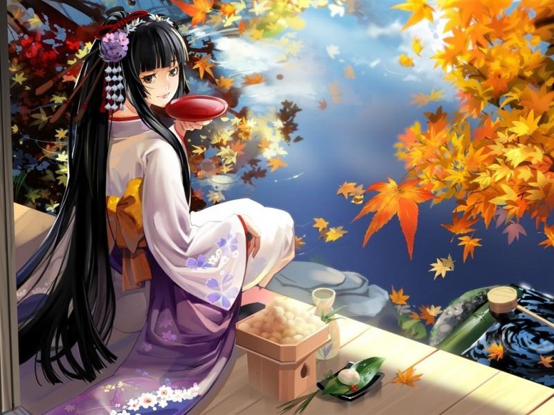 黑发古代动漫女子图