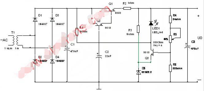 串联型可调稳压电路工作原理