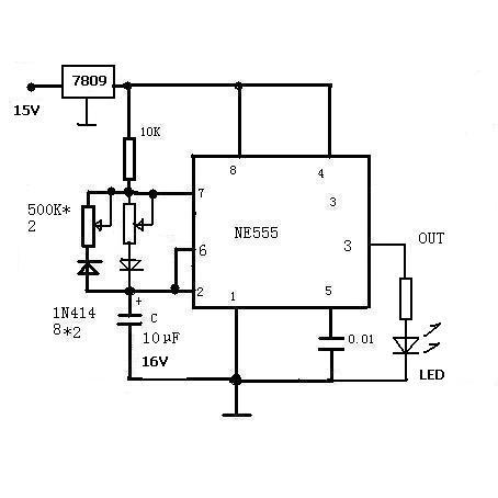 谁能提供一个ne555闪光灯(闪光电路)的电路图,要单闪的,电压9v,或4.