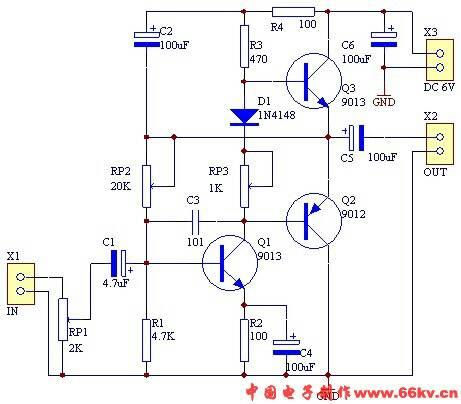 求这个音频放大电路的工作原理,百十个字就行,不过比较急!