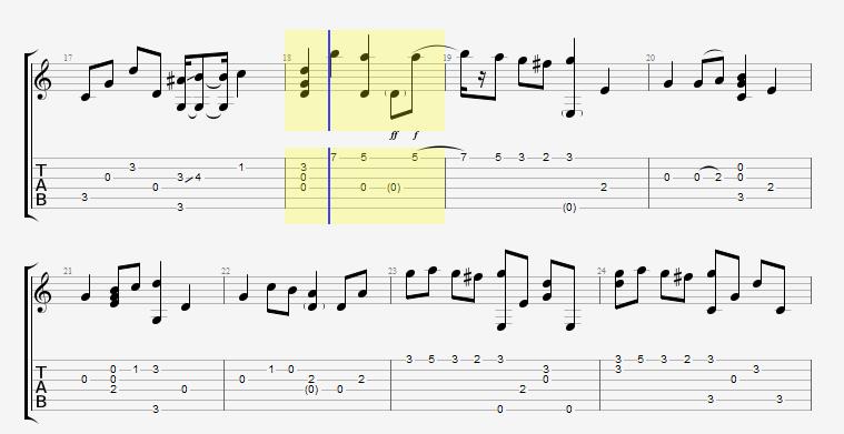吉他五线谱怎么看和弦?