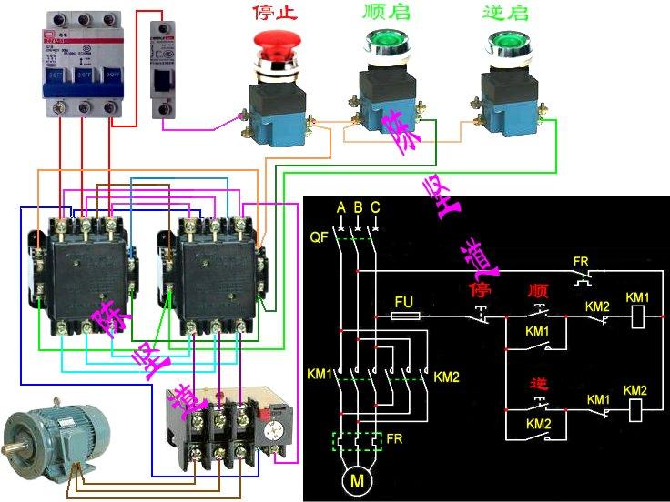 以下三相异步电动机正反转控制电路电气原理图中共涉及几种电器每种