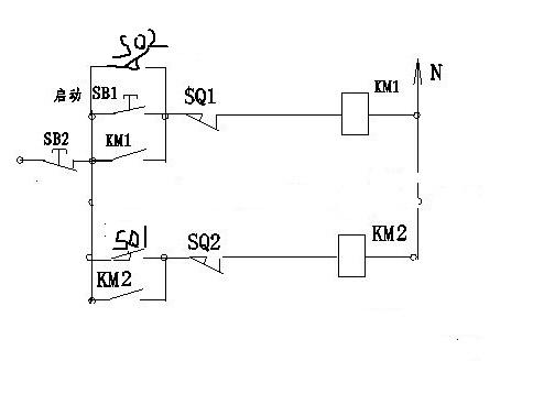电机电气小车自动往返控制电路图