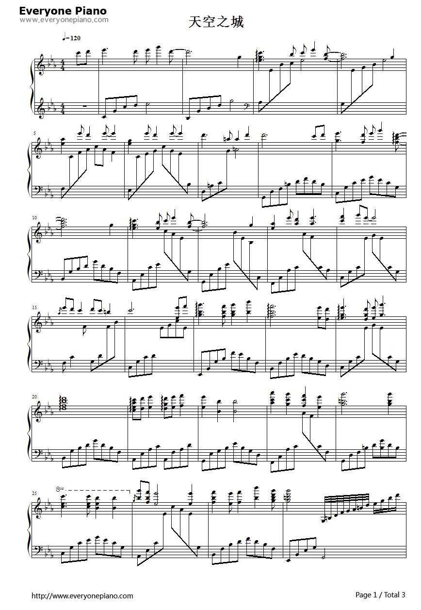 求宫崎骏天空之城主题曲钢琴谱,简谱,还有歌词.