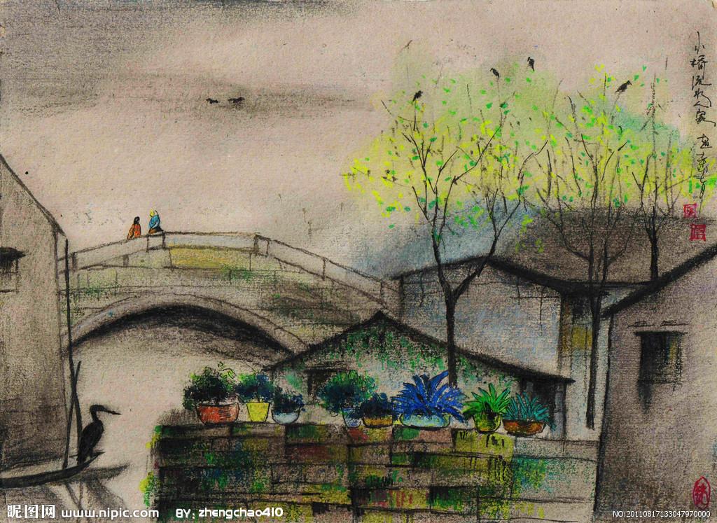 小桥流水油画手绘