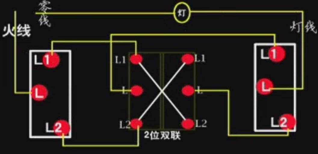 4孔中途开关实物接线图