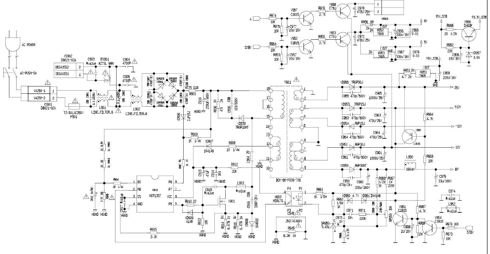 康佳p29tk387开关电源电路图