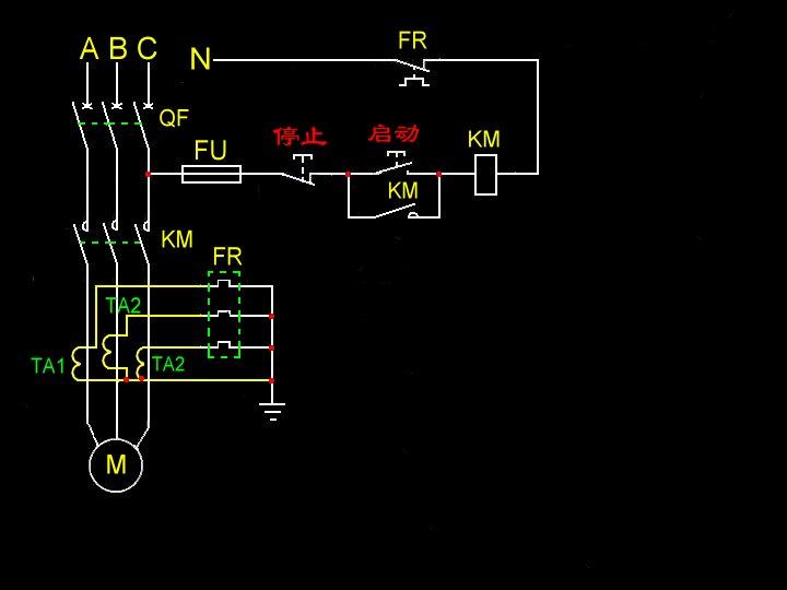 三个电流互感器与一个三相热继电器接线