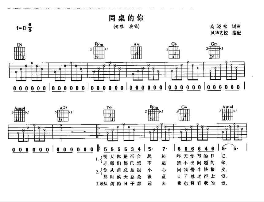 求 同桌的你 吉他简谱,和弦带数字标记指法的那种谱子