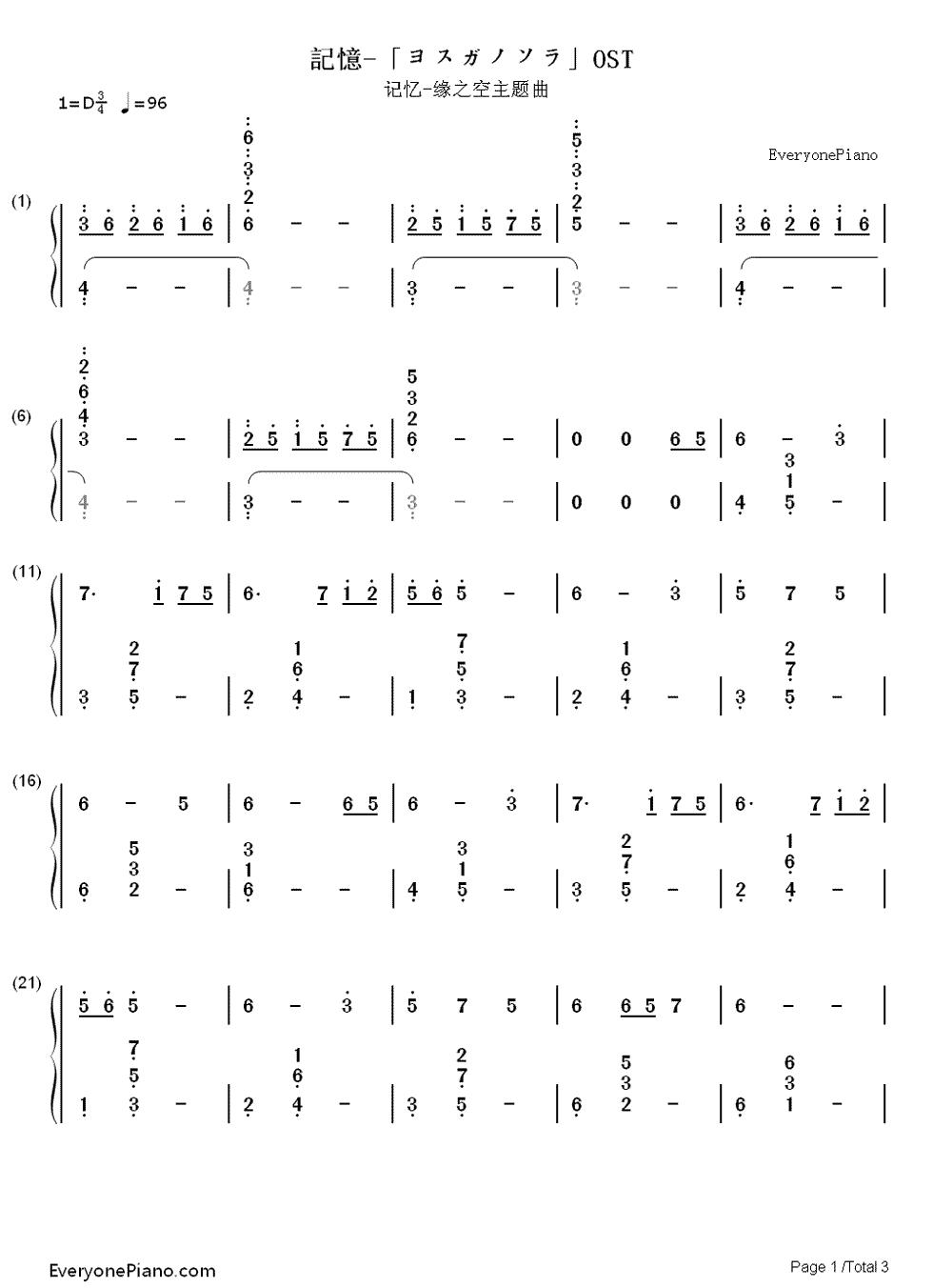 【求数字钢琴简谱】缘之空的记忆