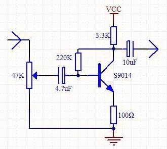 求一份用npn型三极管9014实现的放大电路,是音频前置放大,要求电压