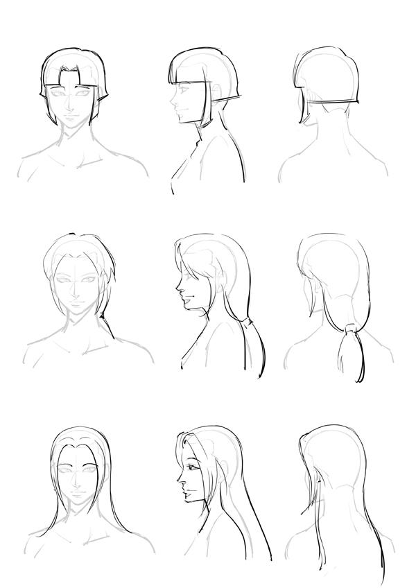 动漫人物的头发怎么画