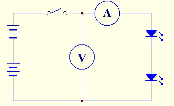 两个小灯泡,电流表和电压表各一只,导线若干,请你设计一个电路
