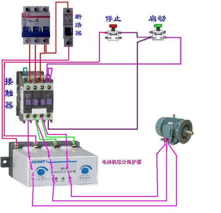 交流接触器,电动机综合保护器组成的实物接线图,用于水泵抽水谢谢.