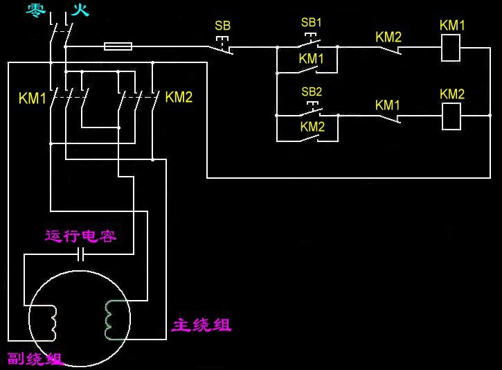 220v 电机正反转电路图