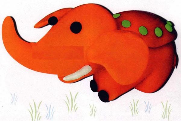 小学生手工:彩泥大象