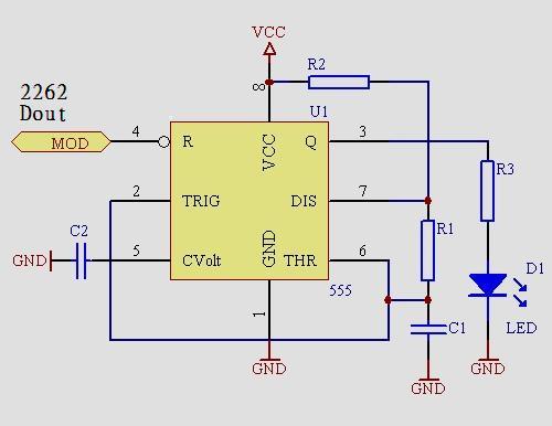 r1,r2和c1决定载波频率,d1红外发射led,3脚可以再加三极管驱动增强
