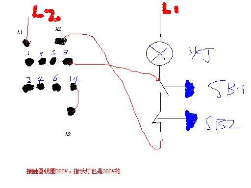 这样的要求 接触器的线圈和指示灯都是380v的~~// 13 14 是接触器的