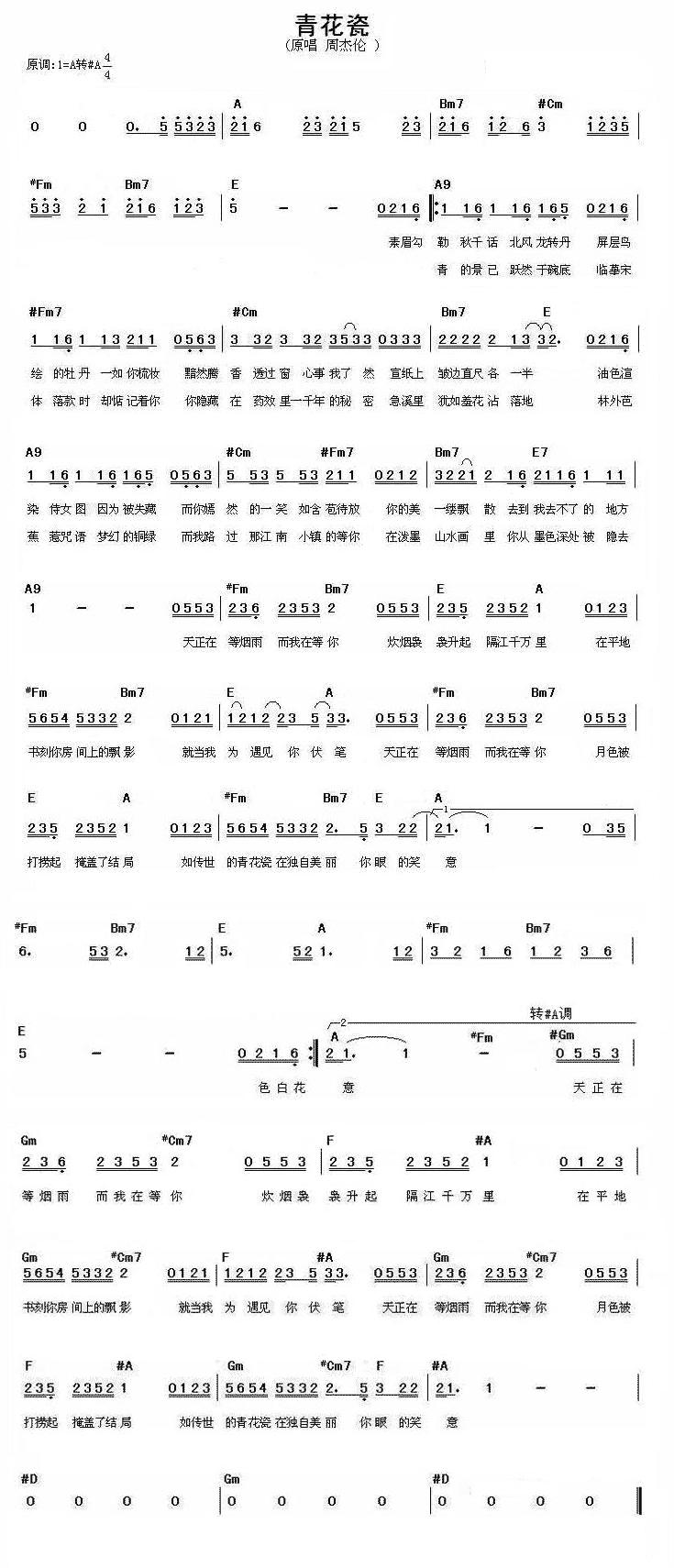 青花瓷电子琴简谱双手