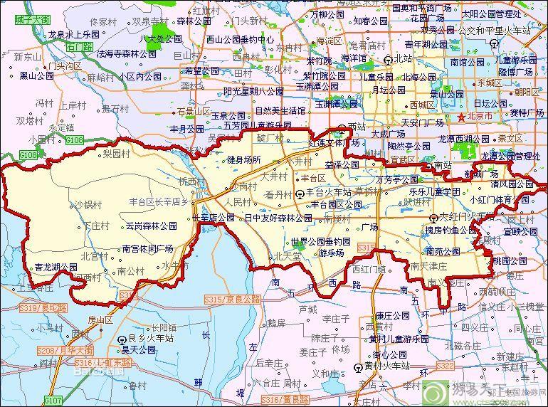想知道: 北京市 北京丰台区与大兴区的交界线 在哪