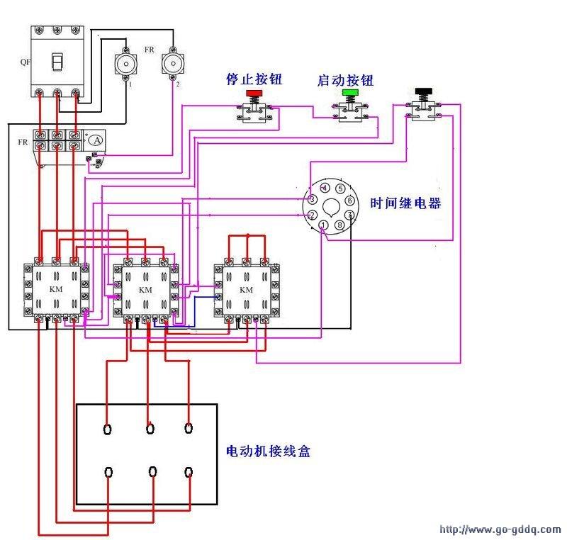 追答 电机应该是6个接线柱,如果是星三角减压启动,就要接6根线,按