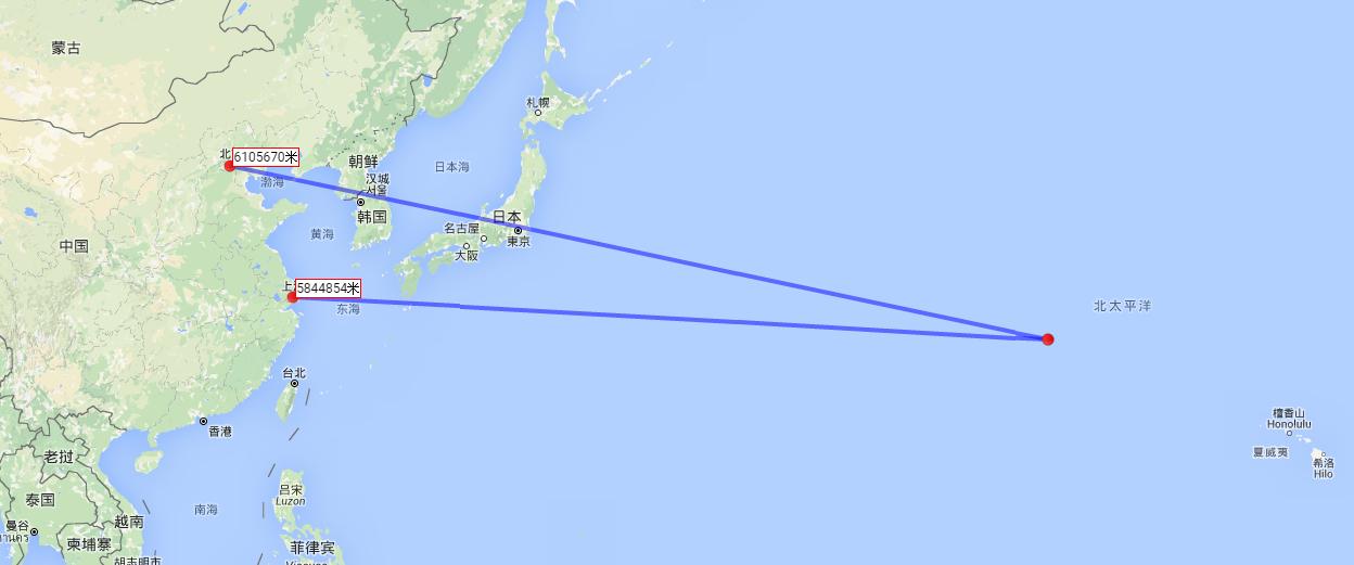 中途岛距离上海5800多公里,距离北京6100公里.