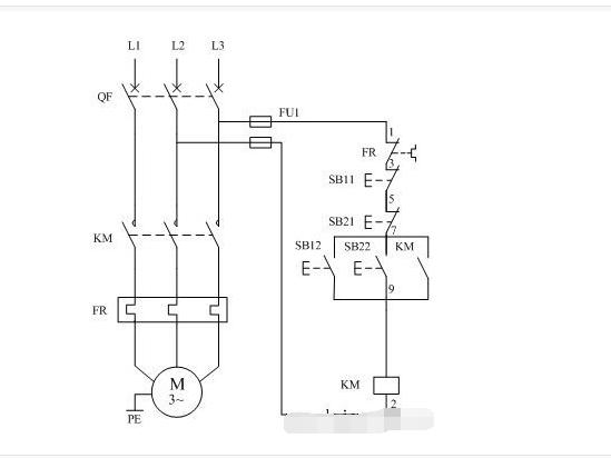 向ta提问 两地控制电机接线如图: 启动按钮并联,停止按钮串联.