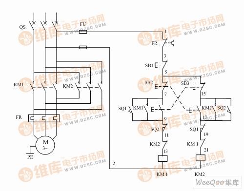 两个接触器两个行程开关怎样控制电机正反转?求实物图