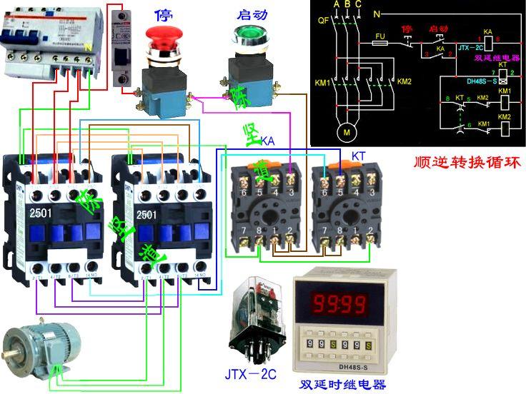 电机正反转自动往复电路图