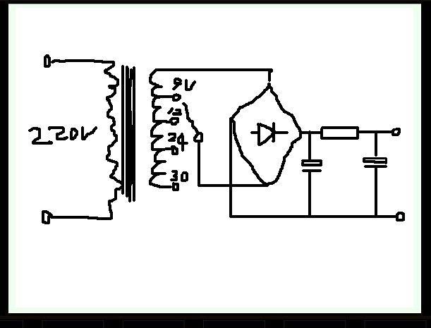 求220v变30v,24v,12v,9v直流稳压电路图