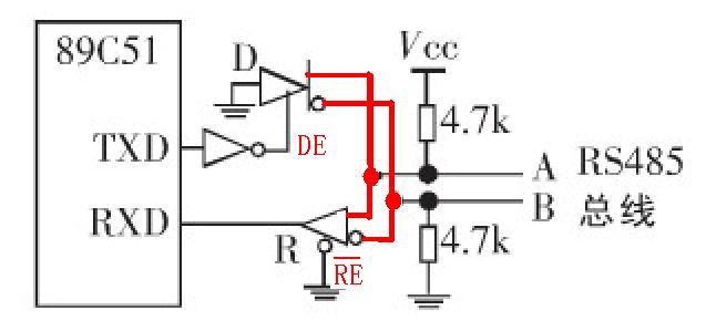 求一max485自动切换控制反向电路,只用rxd和txd两个单片机引脚就能