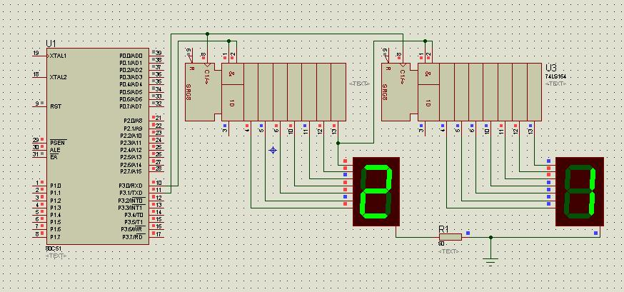 单片机和74ls164驱动2位数码管显示0~99 我用protues仿真没问题,焊接