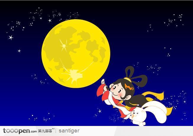 有没有很可爱的卡通玉兔和嫦娥图片