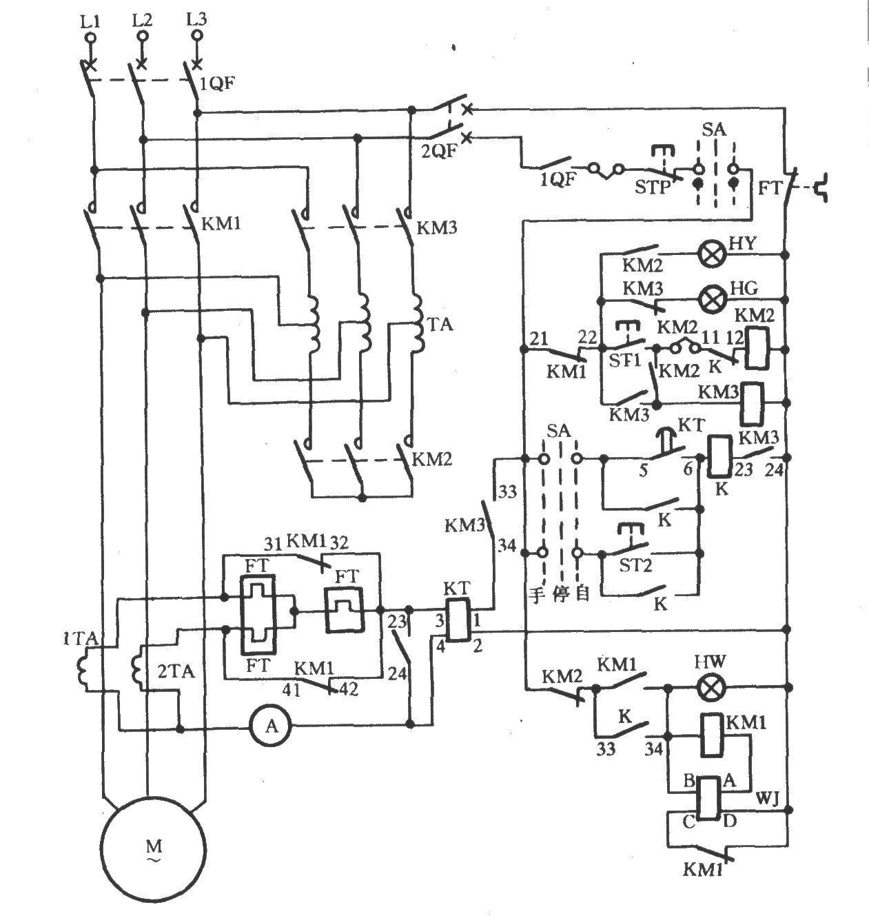 自耦降压启动实物接线图